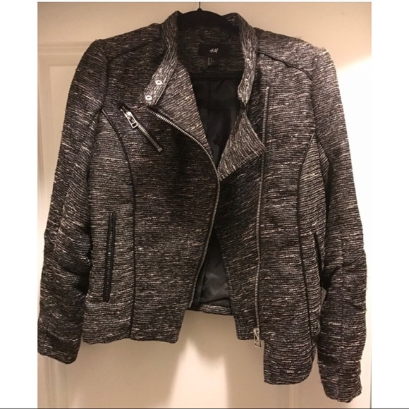 H&M Jackets & Blazers - H&M Motorcycle Tweed Jacket Size 12